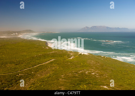 Aerial view of the west coast and Koeberg nuclear power station north of Cape Town in South Africa. - Stock Photo