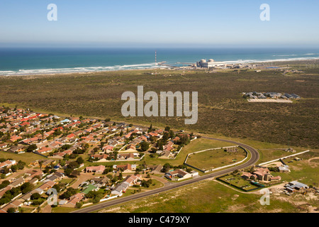 Aerial view of Duynefontein with Koeberg nuclear power station in the background. This is on the west coast north - Stock Photo