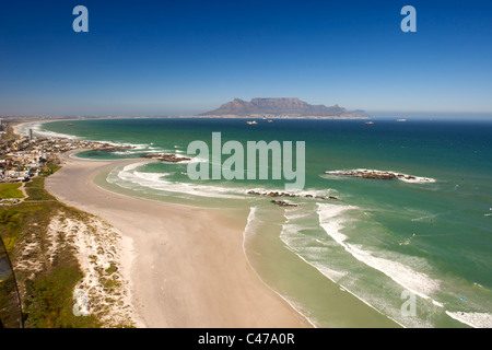 Aerial view looking south along the west coast north of Cape Town in South Africa. - Stock Photo