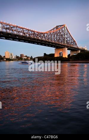 Story Bridge Brisbane at dusk - Stock Photo