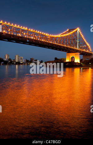 Story Bridge Brisbane at night - Stock Photo