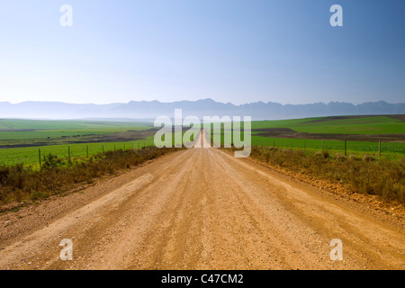 Dirt road leading to Nethercourt from the N2 highway near Caledon in South Africa's Western Cape Province.