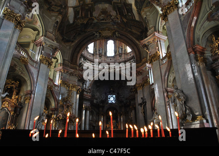 St. Nicholas Cathedral interior in Prague, Czech Republic. - Stock Photo