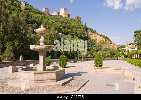 Fountain in the Paseo de los Tristes plaza, at the foot of the Alhambra, Granada Andalucia Spain - Stock Photo