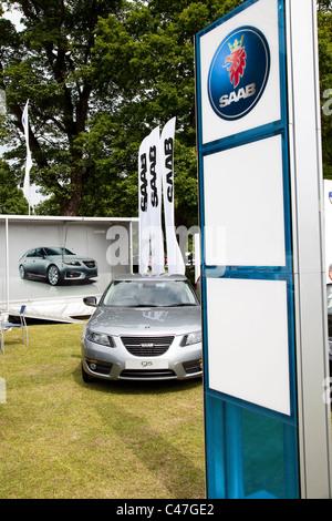 Saab car dealership promotion at a motorshow event England UK - Stock Photo