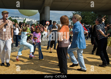Paris, France, Public Events, National Day, Bastille Day, 14th of July, People Dancing at Ball in Parc Citroen, - Stock Photo