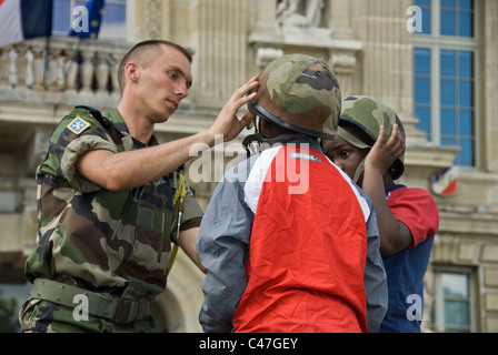 Paris, France, Public Events, National Day, Bastille Day France, 14th of July, Children  French Military on Public - Stock Photo