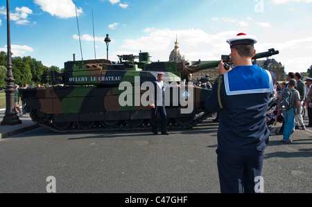 Public Events, National Day, Bastille Day, 14th of July, Sailor Taking Photos, French Military on Public Square, - Stock Photo