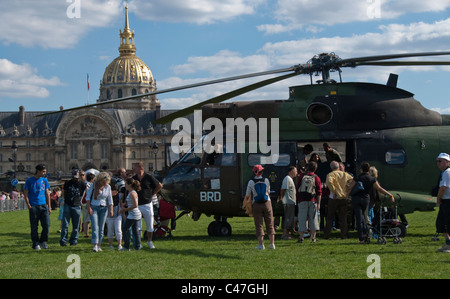 Paris, France, Public Events, National Day, Bastille Day, 14th of July, French Military Helicopter, on Public Square, - Stock Photo