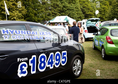 Hyundai car dealership promotion at a motorshow event England UK - Stock Photo