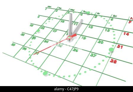 Calendar and Clock. Green edition. - Stock Photo