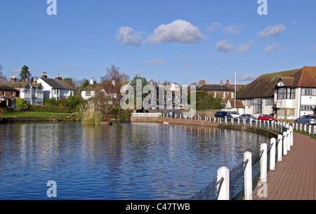 The Pond in the Picturesque Village of Lindfield, West Sussex, England - Stock Photo