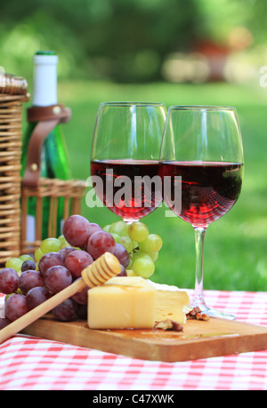 Various sorts of cheese, grapes and two glasses of the red wine - Stock Photo