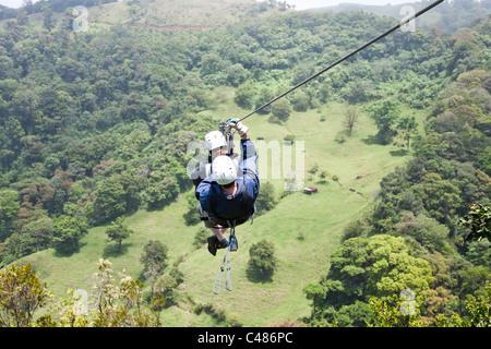 Super Cable, Extremo Monteverde Canopy Tour, Monteverde Costa Rica - Stock Photo