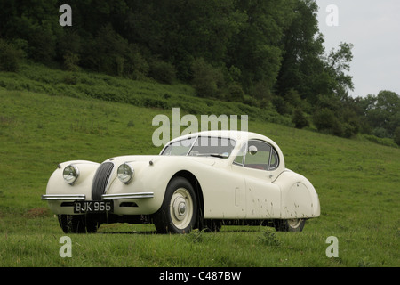 A Jaguar XK120 fixed head coupe at Shelsley Walsh hill climb during the Jaguar anniversary celebrations in June - Stock Photo