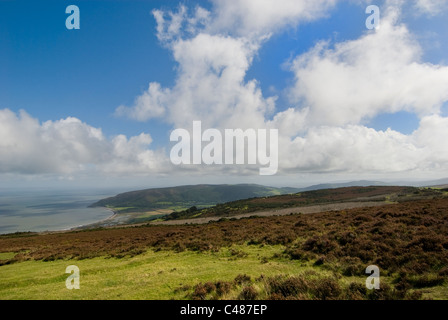 View East from the top of Porlock Hill on the A39, Exmoor, Devon - Stock Photo