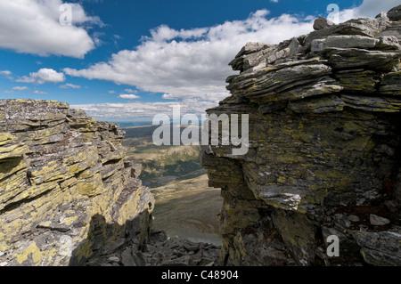 Blick ueber das Alvdal Vestfjell zum Berg Rendalssoelen, Rendalen, Hedmark, Norwegen - Stock Photo