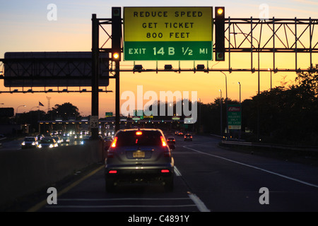 Toll booths on a highway, Jersey City, USA - Stock Photo