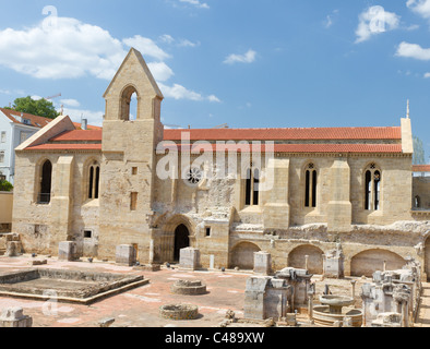 Museum of excavated cloister complex Santa Clara Velha in Coimbra, Portugal - Stock Photo