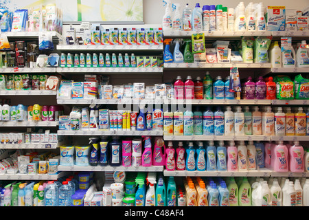washing powder shelf in chemist's shop