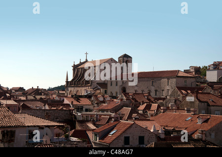 St Ignatius Church from city walls in Dubrovnic Croatia - Stock Photo