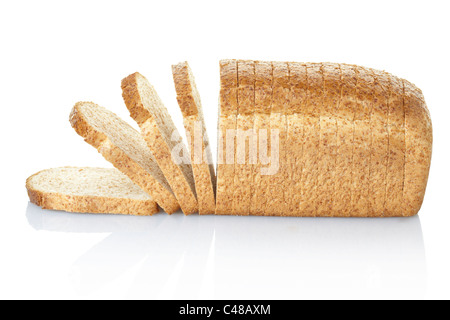 Sliced brown bread loaf - Stock Photo