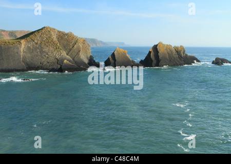 Rocks at Hartland Quay, view south, North Devon, England, UK - Stock Photo