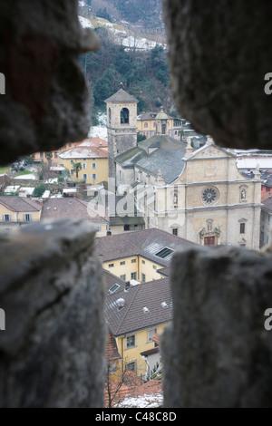 Church of St. Peter and Stephen from Castelgrande. Bellinzona. Tessin. Switzerland. - Stock Photo