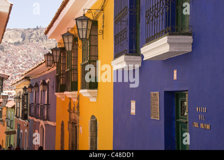 Street scene with colorful building facades. - Stock Photo