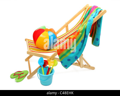 Beach chair and accessories isolated on white background. - Stock Photo