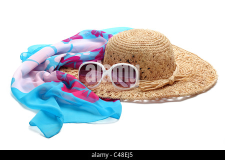 Straw beach hat, sun glasses and shawl isolated on white. - Stock Photo