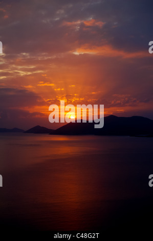 Sunset Over the Island with Striking Sun Rays  - BVI - Stock Photo
