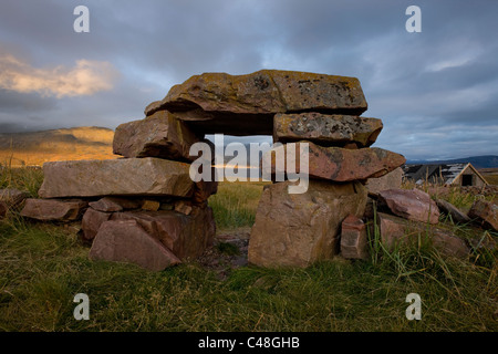Norse ruins of a cow shed in Igaliku, Greenland.