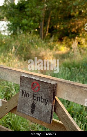 No entry sign to British countryside, Suffolk UK - Stock Photo