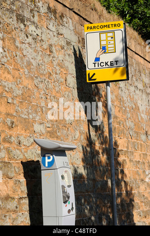 italy, rome, parking meter and sign - Stock Photo