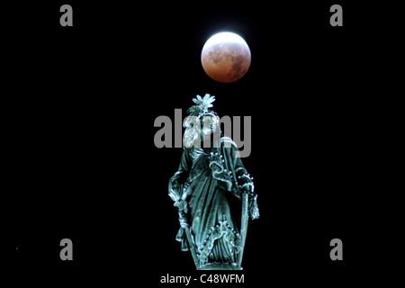 Lunar Eclipse over Washington DC - Stock Photo
