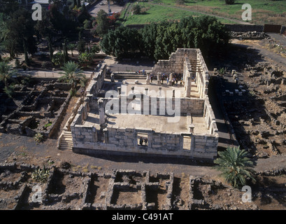 Aerial photograph of the ancient synagogue of Capernaum in the Sea of Galilee - Stock Photo