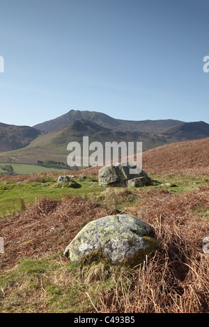 The Hills of Stile End and Outerside and Causey Pike from the Grisedale Pike Track above Braithwaite Lake District - Stock Photo