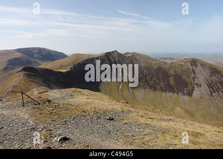 Sand Hill Hopegill Head and Ladyside Pike with Grassmoor and Whiteside Mountains Behind From Grisedale Pike Lake - Stock Photo