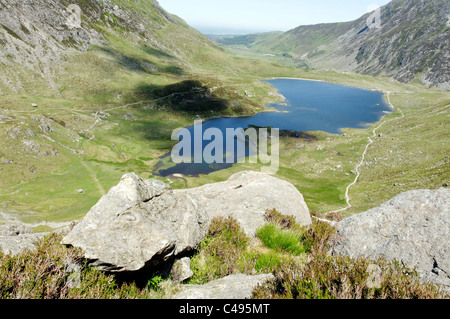 A scenic view across Cwm Idwal in the Snowdonia National Park - Stock Photo