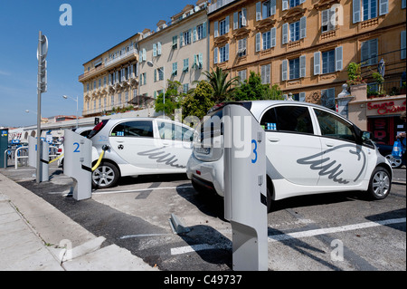 Electric cars - Auto Bleue electric car at charging point in the French city of Nice in Côte d'Azur - Stock Photo