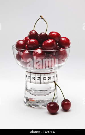 Cherries in Glass Dish with Tape Measure - Stock Photo