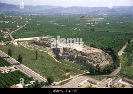 Aerial photograph of the ruins of the Greek city of Tyiryns on the Peloponnese peninsula - Stock Photo