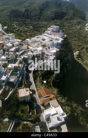 Aerial photograph of the Greek village of Menetes on the island of Karpathos - Stock Photo