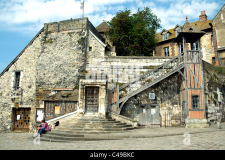 A characterful semi-ruin beside the charming and elegant inner port, Vieux Bassin, in Honfleur, Normandy, draws - Stock Photo