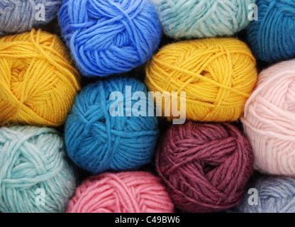 skeins (balls) of wool yarn - Stock Photo