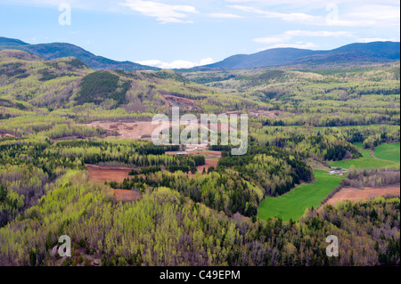 Aerial view of the hills and sand quarry  near the town of Clermont, in Charlevoix, province of Quebec, Canada. - Stock Photo