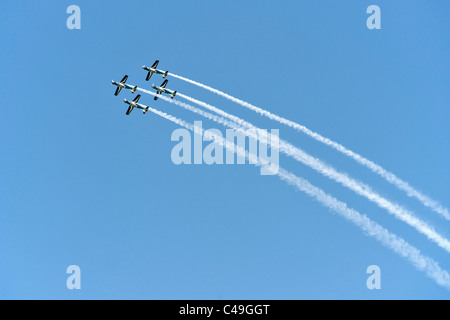 The Silver Falcons, the South African Air Force's display team, flying at an air show in their Pilatus PC-7 Mk II - Stock Photo