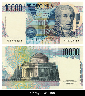 Front and back of former 10000 (Diecimila) Italian Lira banknote replaced by the Euro in 2002 on a pure white background - Stock Photo