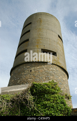 Fort Saumarez  German look out tower St Saviour Guernsey  World War two concrete observation tower - Stock Photo